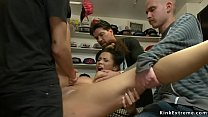Busty brunette group fucked in public