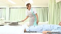 Raunchy nurse sucking off a patient and getting...