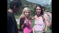Two nasty chicks climb up the van pornhub video