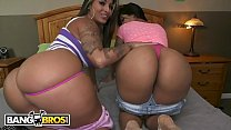 BANGBROS - Curvy Latin Lesbians Spicy J And Rose Monroe On Ass Parade!