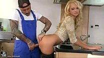 Desirable blonde housewife gets boned by tattooed worker in kitchen preview image