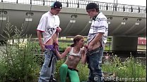 Image: Young teen girl Alexis Crystal PUBLIC threesome gang bang with 2 big dick boys