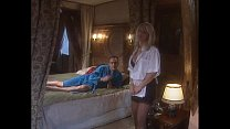 Classy blonde woman in black stockings banged i...