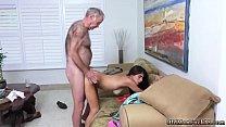 Young woman fucks old neighbor Poping Pils!