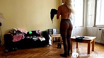 Hot blonde stepsister strips and spreads herself