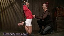 Pretty babe immobilized in metal devices Preview