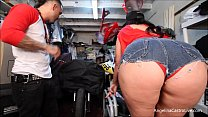 Big Titted Angelina Castro Fucks & takes Cumshot In Bike Garage!