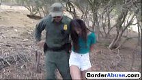 Pale cutie banging on the border so she could walk free