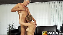 Young beauty cheats boyfriend with mature cock hammering