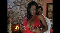 Big breasted ebony slut rides black dick Thumbnail