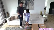 Petite Jasmine rides on her mans bigcock in reverse cowgirl