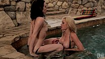 Ashley and Riley take turns eating each other o...