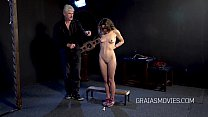 Little brat's nipples precisely stroke with a stick