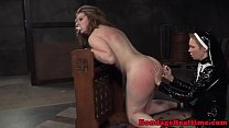 Spanked lesbian sub throated by strapon nun video