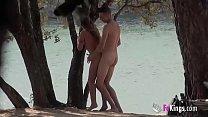 Beachside voyeur sex with the skinny MILF Araceli - Stockings Tease thumbnail