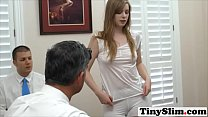 Cute blonde virgin gets deflowered by an older dude