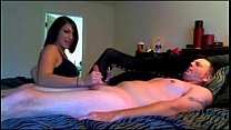 Brunette gives amazing handjob!