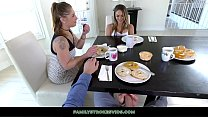 Naughty Blonde Teen Gives Stepdad A Footjob Under The Table Thumbnail