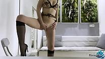 Woman in Lingerie Sensual Masturbate Pussy Befo...