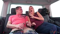 Cheap old slut on the street came to fuck for free in van with dude image