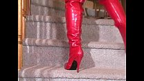 Thigh Boots in Red Leather