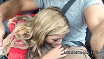 Blonde stranded teen sucking cock in car Image