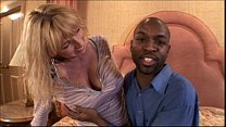 Busty blonde milf loves black cock in mature video