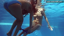 Two Hot Lesbian Brunettes In The Swimming Pool