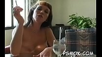 In nature's garb bombshell with nice tits enjoys a relaxing smoke session