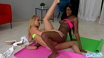 MILF stepmom first interracial with black step daughter, lesbian initiation