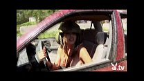 Nude Girls Driving in a Demolition Derby!