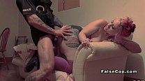 Natural busty tattooed babe fucks fake cop