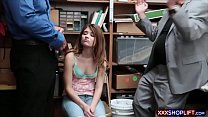 Teenie shoplifter got caught and gets punish  fucked