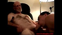 Old gay guy sucking some young guys dick