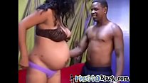 Pregnant black whore spreads her legs to get her pussy fucked thumbnail