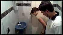 Mexican teens caught fucking in public restroom porn image