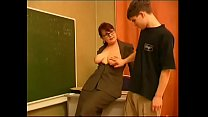 Russian big-titted brunette teacher with glasses cheats with her student in classroom [1]