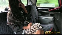Huge boobs black haired amateur Elicia pounded with driver Image