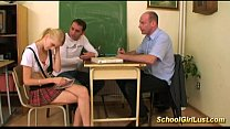 horny Naughty schoolgirl in wild threesome