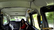 Slutty brunette Skyla rides drivers big cock and gets creampied