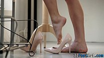 Foot fetish babe rides