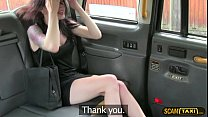 Gorgeous brunette babe sucks and fucks to get a free taxi ride