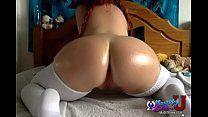 BIG OILED BUTT Girl on Webcam - www.NaughtyCam4U.com