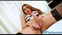 Big tits tranny in stockings masturbates her ha...
