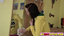 Dark haired hottie rubs her twat