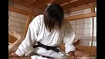 Karate master pegging his ass thumb
