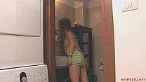 Teen goes topless in closet pornhub video