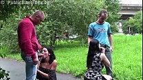 Pregnant girl and her girlfriend fucked by 2 guys on public street