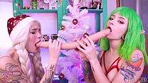 Christmas Teen Elves play with double dildo & cherry acid Leah Meow Lesbian sex tumblr xxx video