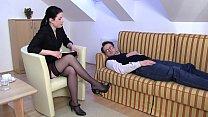 Femdom Ladies order slaves to smell their feet